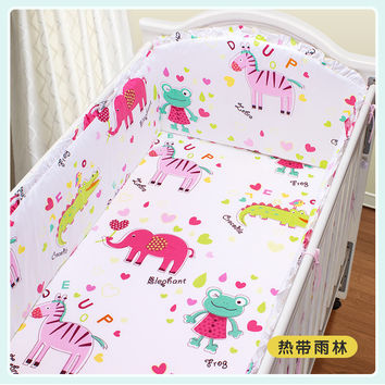 Promotion! 5PCS Animal Customized Crib Bedding Sets bed bumper Baby Bedding Set ,(4bumpers+sheet)