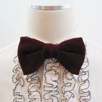 70s Bow Tie Vintage RED Velvet Butterfly Formal Prom Bowtie