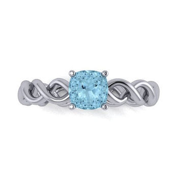 Aquamarine Engagement Ring, Birthstone Ring,14K White Gold Engagement Ring, Wedding Ring, Wedding Ring, Promise Ring Right Hand Ring RE00134