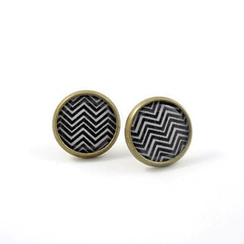 Chevron Black and White Earring Studs Print Tribal by MistyAurora