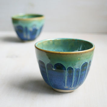 Yunomi Tea Cups - Mystical Night Glaze - Pair of Handmade Stoneware Blue and Green Teacups Ceramic Pottery Cups