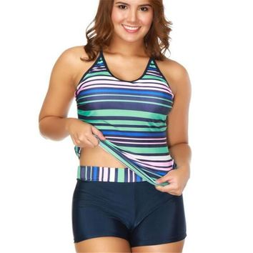 Plus size two pieces bathing suit Boyshorts Tankini vintage swimwear striped sport wear extra large swimsuit bikini big 5XL