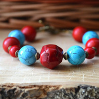 Turquoise Red Simple Bracelet Chunky Stones Bracelet Stone Beads Bracelet Boho Bracelet Tribal Bracelet Turquoise Coral Bracelet Taitallas