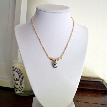 Stylish antique mystic evil eye dainty necklace with 18-kt gold plated chain