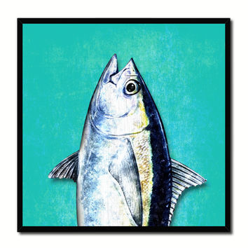 Bluefin Tuna Fish Head Art Aqua Canvas Print Picture Frame Wall Home Decor Nautical Fishing Gifts