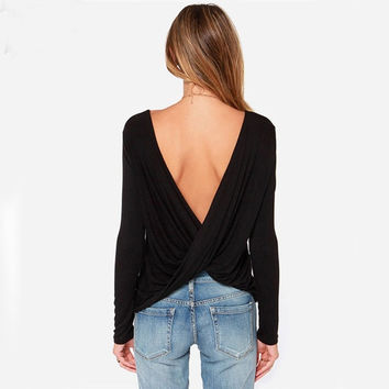 Fashion Women's T-Shirt Long Sleeves Sexy Pleated Cross Wrap Draped Backless Blouse Tops = 5738132481