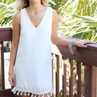 Fringe Frenzy White Sleeveless Loose Fit Dress With Fringe