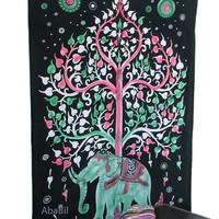 Twin Cotton Elephant Tree Tapestry Wall Hanging, Wall Decor Indian Bedspread Hippie Bohemian Throw Ethnic Home Decorative Art