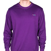 Longshanks Embroidered Crewneck Sweatshirt in Purple by Country Club Prep - FINAL SALE