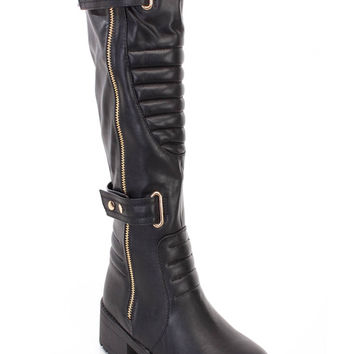 Black Stitched Strappy Riding Boots Faux Leather