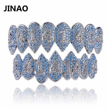JINAO Silver Color Iced Out 1414 Gold Grillz Crystal Jewelry Top Bottom Grills Teeth Body Jewelry Hip Hop Bling AAA Cubic Zircon