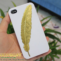 White Hard Case Cover With Harry Potter Golden Feather for Apple iPhone 4 , iPhone 4s, iPhone 4 Hard Case, iPhone Case MB274