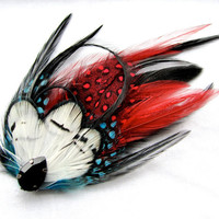 Feather Fascinator Black Tie Affair with Red and by FeatherFunded
