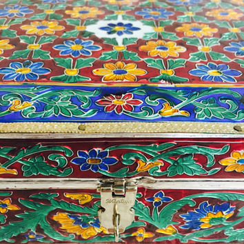 AMAZING SALE : ) Vintage Bhartiya Jewelry Box India Made with Bright Bold Colors and Faux Red Velvet Interior Jewelry Box Storage Vanity