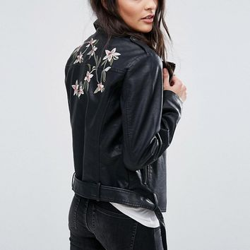Vila Embroidered Leather Look Biker Jacket at asos.com