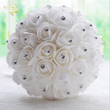 2018 Beautiful White Ivory Bridal Bridesmaid Flower Wedding Bouquet Artificial Flower Rose Bouquet Crystal WP004