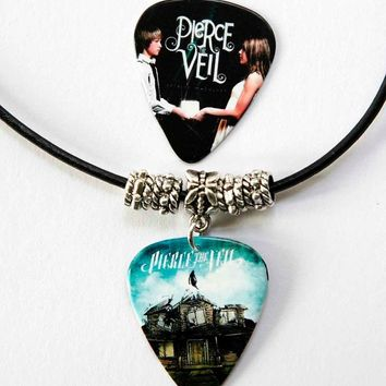 Pierce the Veil Guitar Pick Black Leather Necklace + Plectrum