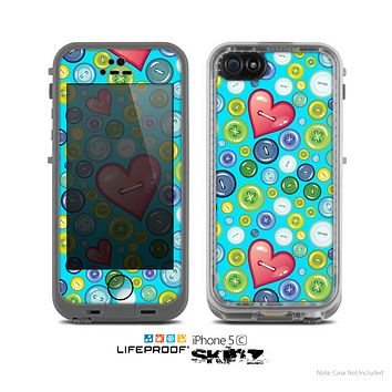 The Blue Vintage Vector Heart Buttons Skin for the Apple iPhone 5c LifeProof Case