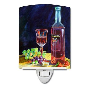 Red Wine Bottle and Glass Ceramic Night Light 7185CNL