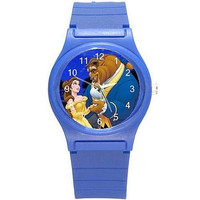 Beauty and the Beast on a Girls (Royal) Blue Plastic Watch & Band