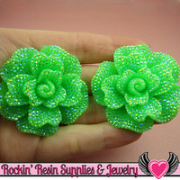 2 pcs Faux RHINESTONE AB Neon GREEN 45mm Decoden Flatback Resin Flower Cabochons