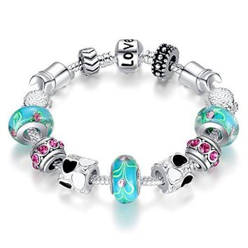 "AUGUAU BISAER Murano Glass Beads Charm Bracelet Enameled Heart Silver Plated ""The World of Love"" Charm Bracelet European Style Snake Chain Bracelet Gifts for Teen Girls Christmas Gift 18cm (7"")/20cm (7.8"")"