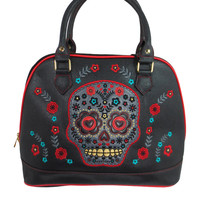Banned Flower Sugar Skull Bowling Shoulder Bag Black Faux Leather Tattoo Rockabilly