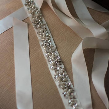 Crystal Bridal Sash Wedding Bridal Dress Belt Bridesmaid Accessory Custom Sash Hand Beaded Rhinestone Crystal Pearl Belt Matching Sash Piece