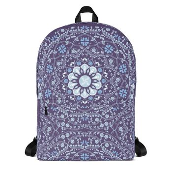 Blue Mandala in Purple Backpack