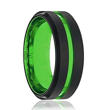 Black and Green Tungsten - Mens Wedding Band - Tungsten Ring - Acid Green - Beveled Edge - Tungsten Wedding Band