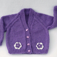 Hand knitted purple baby cardigan 0-3 months