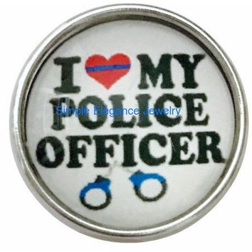 I Love My Police Officer Snap 20mm for Snap Charms