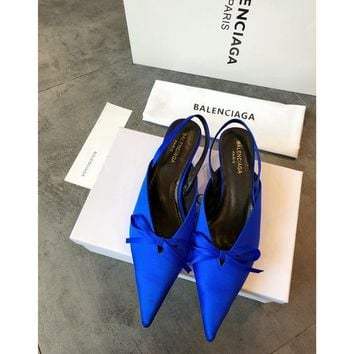 Balenciaga Knife Mules Royal Blue Pointed Toe Satin Mule With Kitten Heel