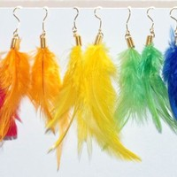 Handmade colorful feather earrings