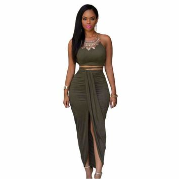 2018 Summer Women Olive Faux Suede Two Piece Set O-Neck Bustier Crop Top And  Maxi Skirt Set Ensemble Jupe Et Haut Sexy