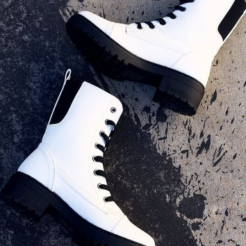 Qupid Combat Lace Up Elastic Gore Ankle Boots