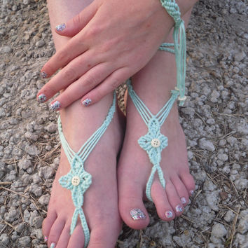 Free Shiping! Macrame Barefoot Sandals and Bracelet Foot Jewelry Foot Acessories Beach Summer