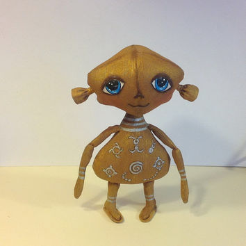 Alien Extraterrestrial Doll  handcrafted Cloth art doll Art doll Cloth doll Monster toy Textile doll Collecting doll Fabric doll  Soft doll