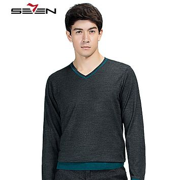 Men Knitted Sweaters Cashmere Men Jumper Slim Fit Winter Male V Neck Basic Cotton Sweaters Pullovers Christmas
