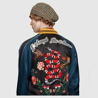 Indie Designs Gucci Inspired Flower and Snake Applique Satin Bomber Jacket