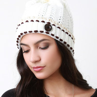 Button And Fur Pom Pom Ridged Knit Beanie