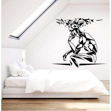 Vinyl Wall Decal Cognitive Man Geometric Polyhedron Silhouette Stickers (2816ig)