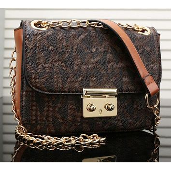 MK Fashionable Women Shopping Bag Leather Metal Chain Crossbody Satchel Shoulder Bag Coffee