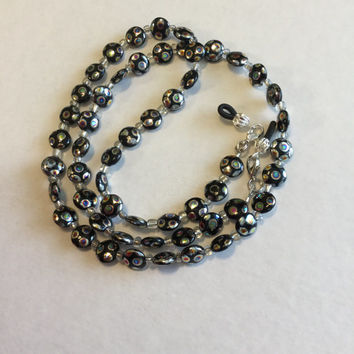 Black And Silver Czech Beaded Eyeglass Chain Holder