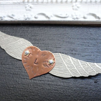 Personalized Flying Heart Wing Necklace by SugarandSoySauce