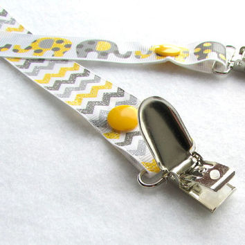 Pacifier Clip, Grosgrain Ribbon Binky Clip, Soothie Clip, Adjustable Yellow Elephants, Chevron
