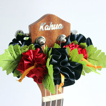 ribbon lei for ukulele / dark navy & red hibiscus / ukulele accessories/ ukulele decor/ mandolin/ banjo/ hawaiian lei /grosgrain ribbon/