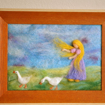 Waldorf inspired needle felted Fairy Tale/ Wool Painting:The Goose girl