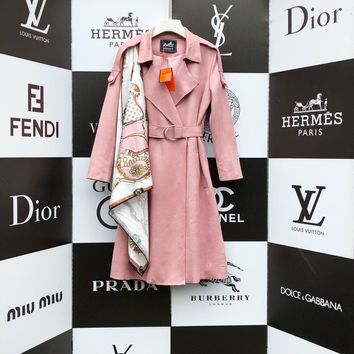 Top Gift Hermes Women Loose Solid Color Pocket Long Sleeve Cardigan Jacket Coat