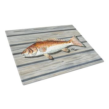 Red Fish on the wharf Glass Cutting Board